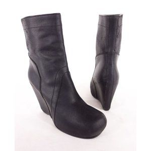 RICK OWENS 40 10 Black Matte Leather Wedge Boots